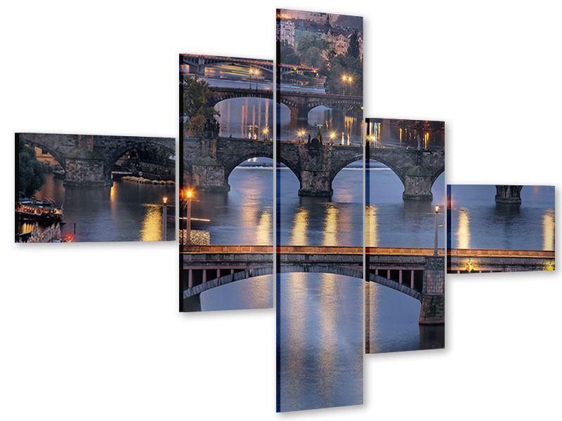 Acrylglasbild 5-teilig modern Brücken in Prag