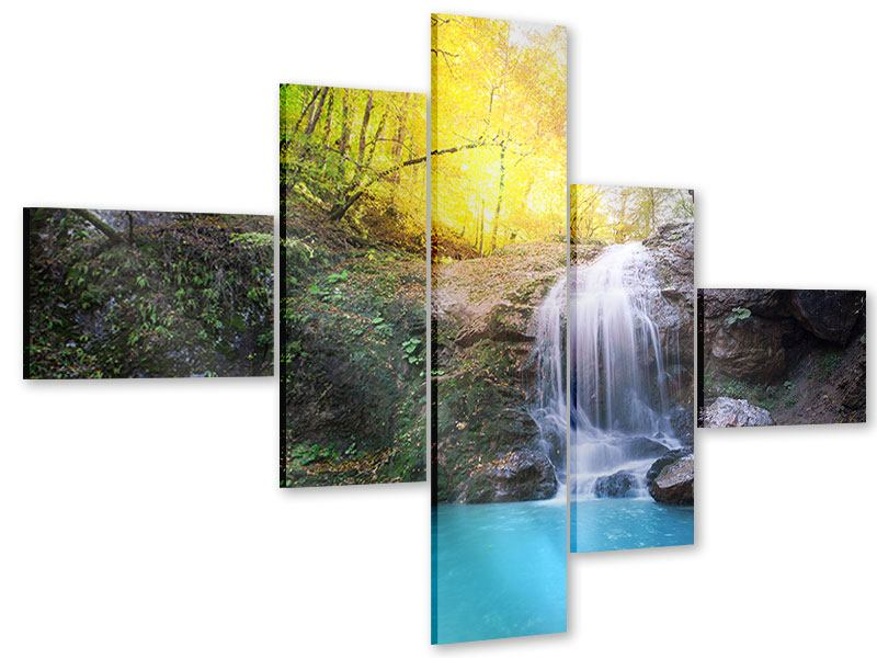 Acrylglasbild 5-teilig modern Fliessender Wasserfall