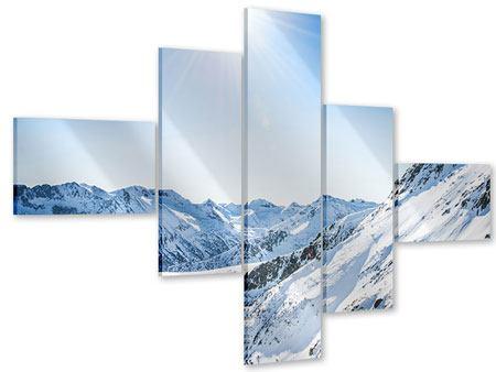 Acrylglasbild 5-teilig modern Bergpanorama im Schnee
