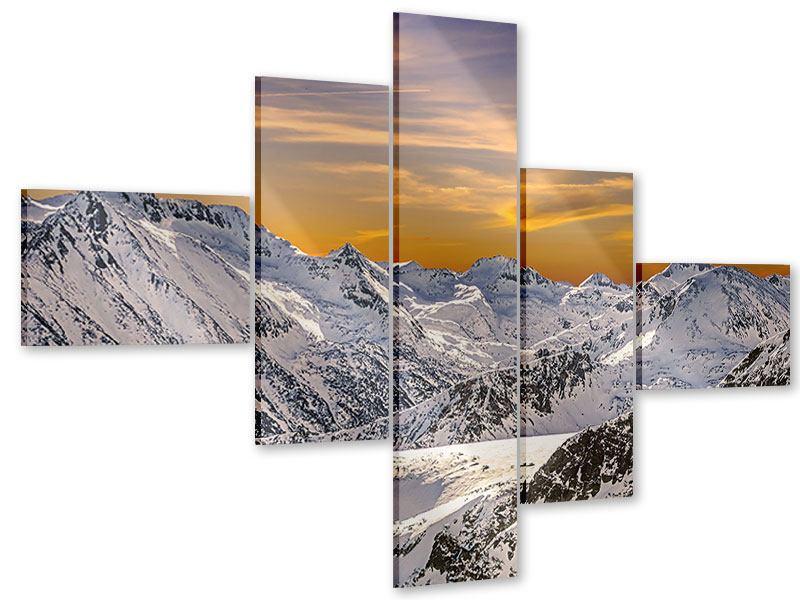 Acrylglasbild 5-teilig modern Sonnenuntergang in den Bergen