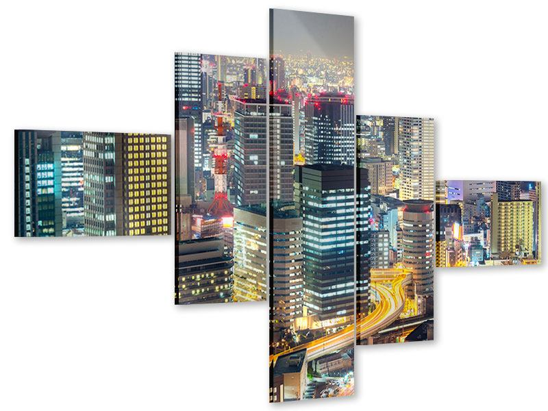 Acrylglasbild 5-teilig modern Skyline Osaka im Lichtermeer