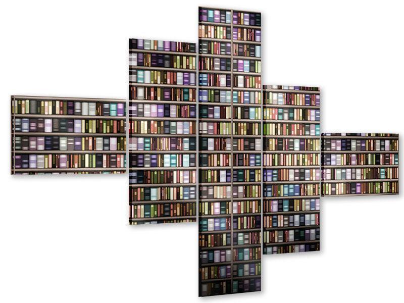Acrylglasbild 5-teilig modern Bücherregal