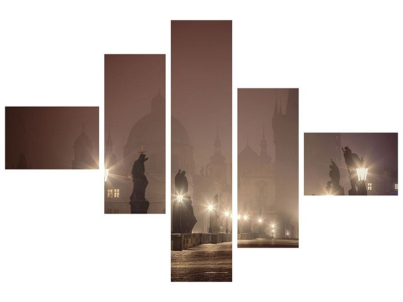Acrylglasbild 5-teilig modern Die Karlsbrücke bei Nacht
