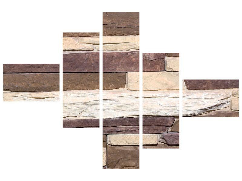 Acrylglasbild 5-teilig modern Designer-Mauer