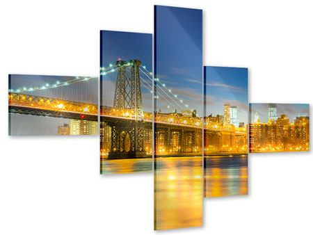 Acrylglasbild 5-teilig modern Brooklyn Bridge bei Nacht