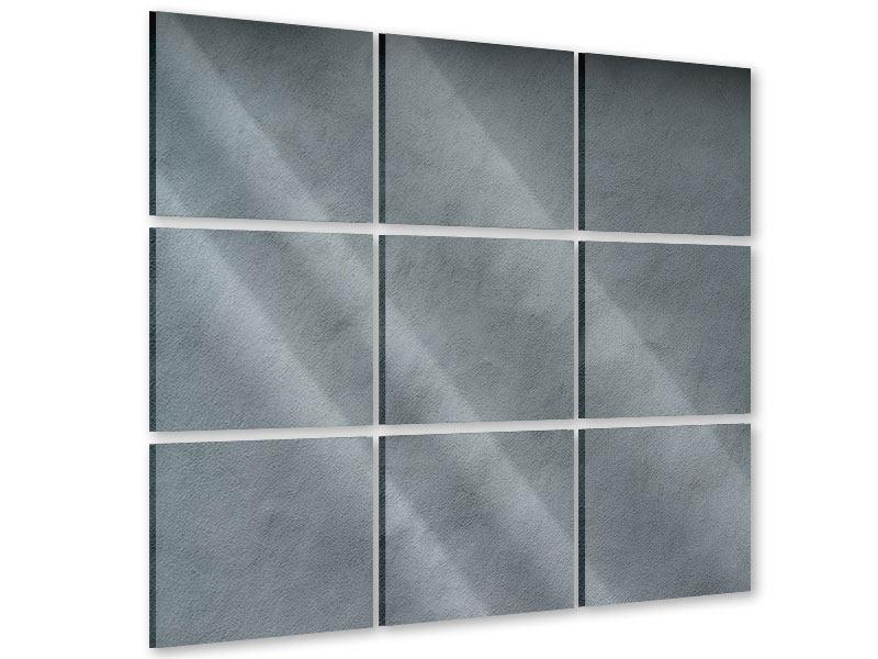 Acrylglasbild 9-teilig Dunkelgraue Wand