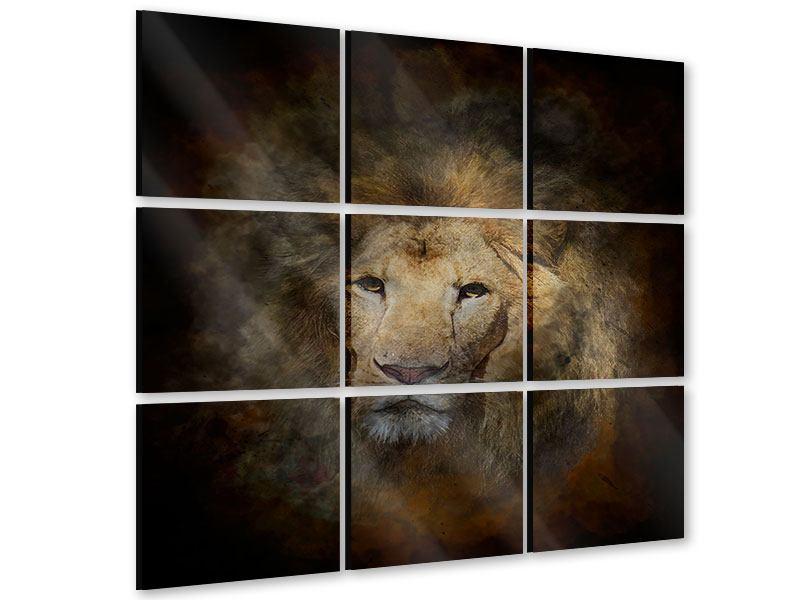 Acrylglasbild 9-teilig Löwenportrait