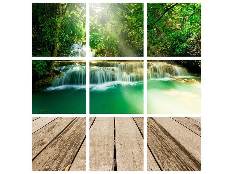 Acrylglasbild 9-teilig Wasserfall Thailand