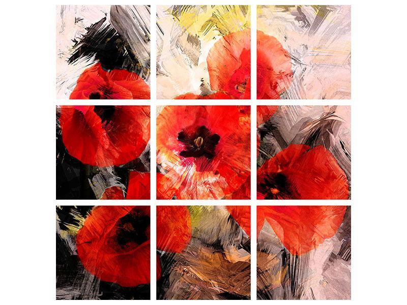 Acrylglasbild 9-teilig Mohngemälde