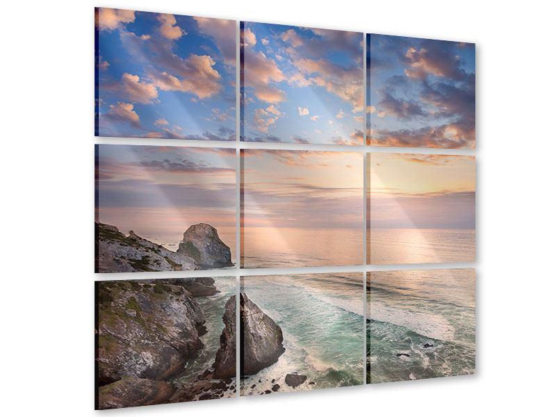 Acrylglasbild 9-teilig Romantischer Sonnenuntergang am Meer