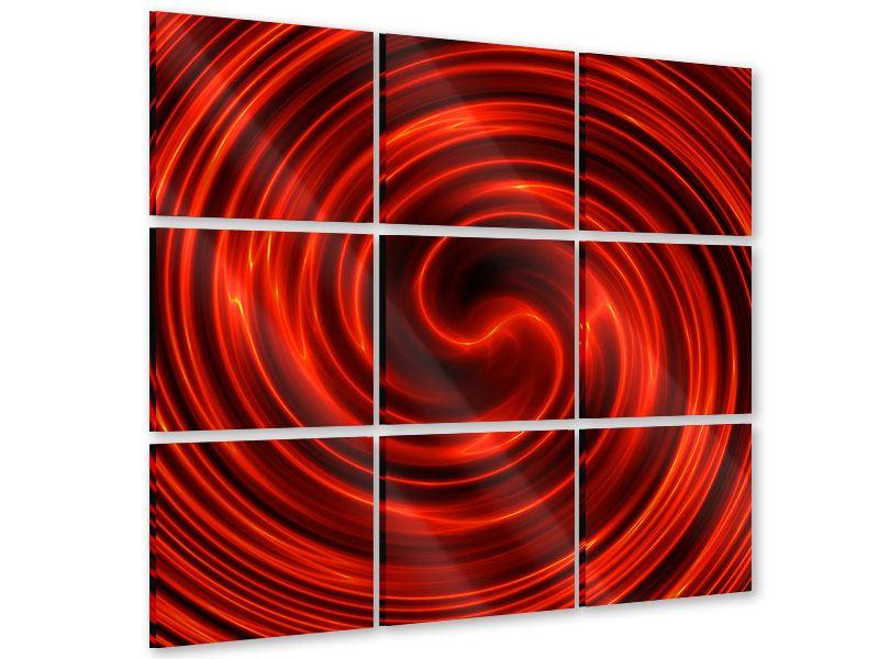 Acrylglasbild 9-teilig Abstrakte Rote Wirbel