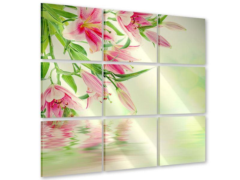 Acrylglasbild 9-teilig Lilien am Wasser