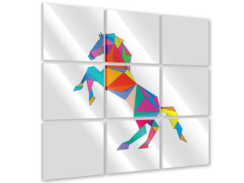 Acrylglasbild 9-teilig Origami Pferd
