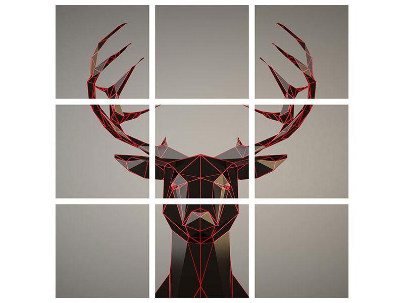 Acrylglasbild 9-teilig Hirschgeweih