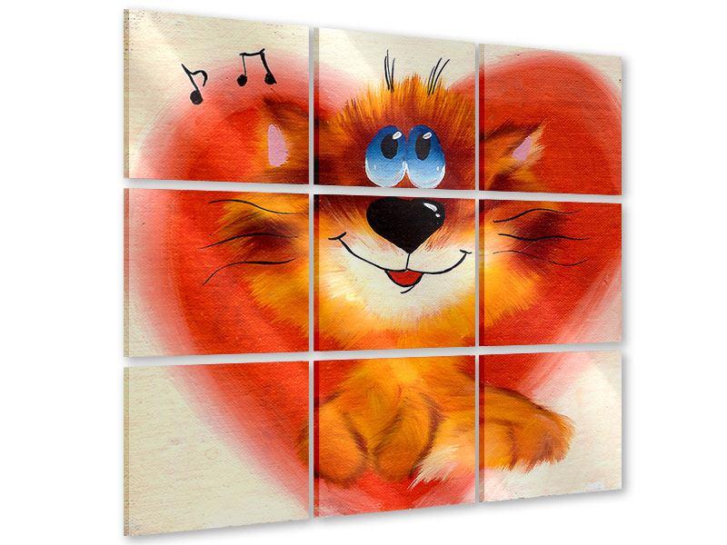 Acrylglasbild 9-teilig Happy Cat