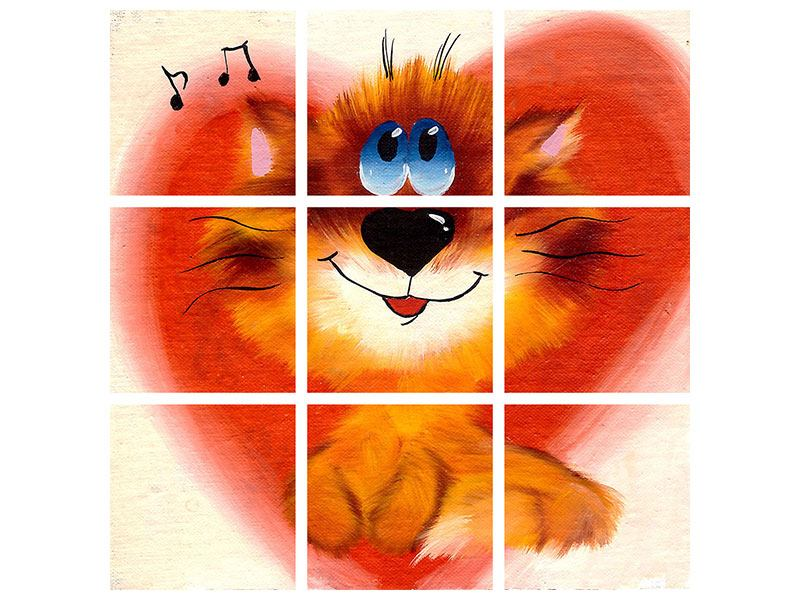 Acrylglasbild 9-teilig Happy Cat