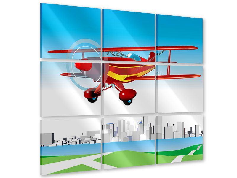 Acrylglasbild 9-teilig Fliegendes Flugzeug