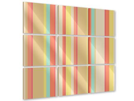 Acrylglasbild 9-teilig Pastell Streifen