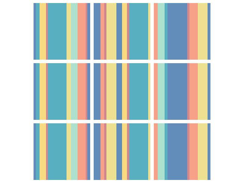 Acrylglasbild 9-teilig Längstreifen in Pastell