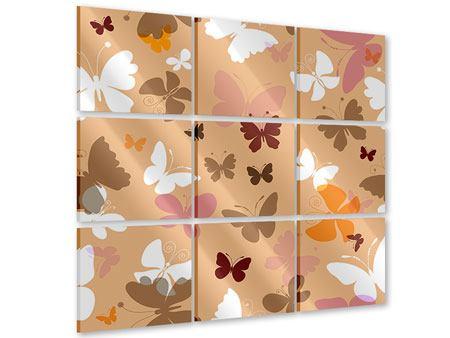 Acrylglasbild 9-teilig Retrodesign Schmetterlinge
