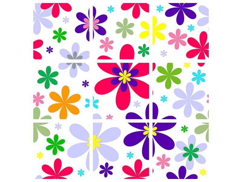 Acrylglasbild 9-teilig Retromode Blumen