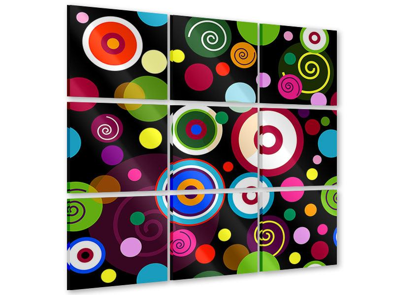 Acrylglasbild 9-teilig Bunte Retrolook Kreise