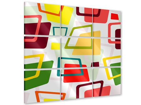 Acrylglasbild 9-teilig Rechtecke im Retrodesign