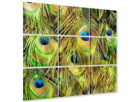 Acrylglasbild 9-teilig Das Pfauenkleid