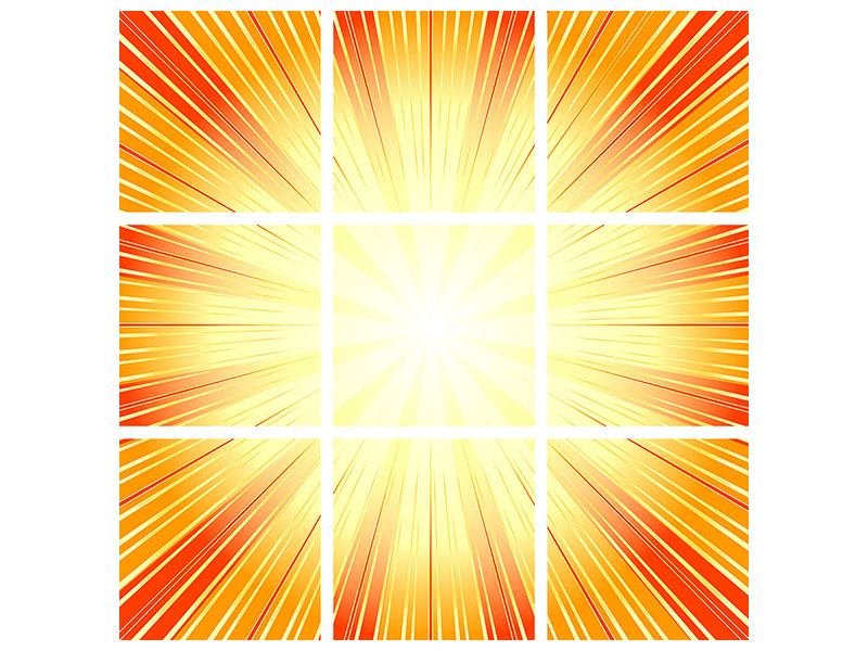 Acrylglasbild 9-teilig Abstrakte Retro Sonne