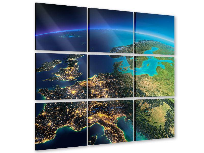 Acrylglasbild 9-teilig Close Up Planet Erde