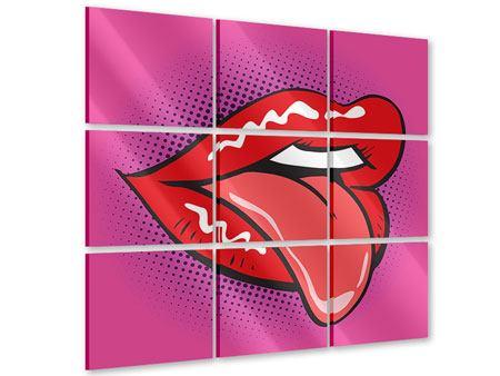 Acrylglasbild 9-teilig Pop Art Mund