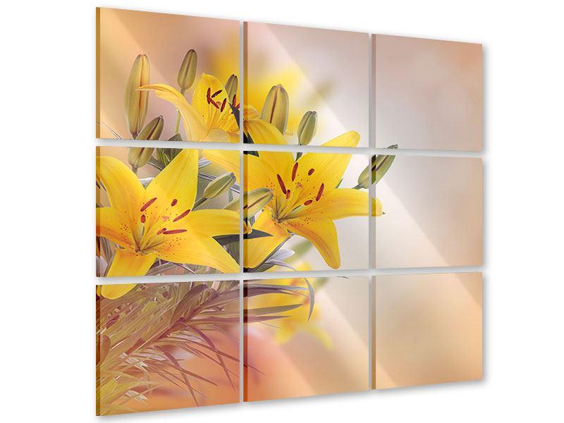 Acrylglasbild 9-teilig Gelbes Lilientrio