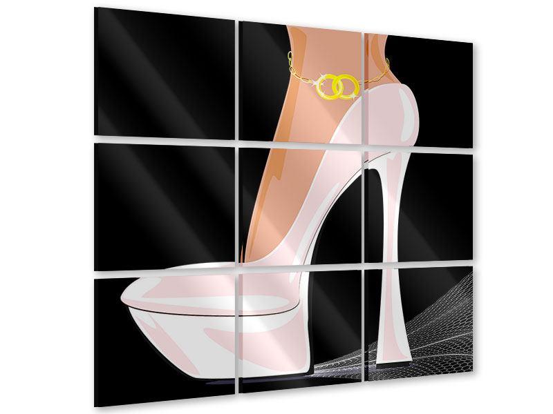 Acrylglasbild 9-teilig Der weisse High Heel