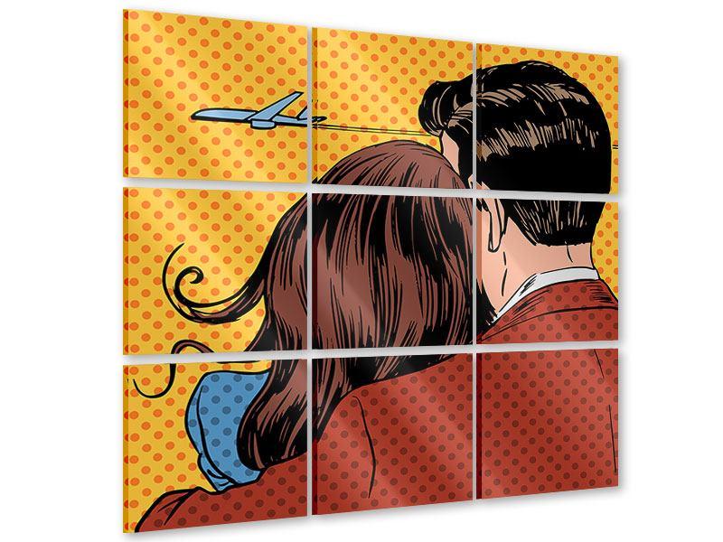Acrylglasbild 9-teilig Pop Art Zweisamkeit