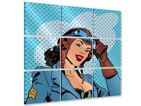 Acrylglasbild 9-teilig Pop Art Pilotin