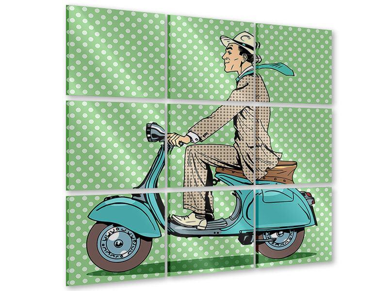 Acrylglasbild 9-teilig Pop Art Vespafahrer