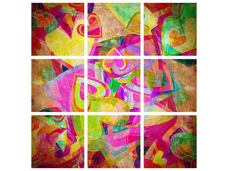 Acrylglasbild 9-teilig Retroliebe