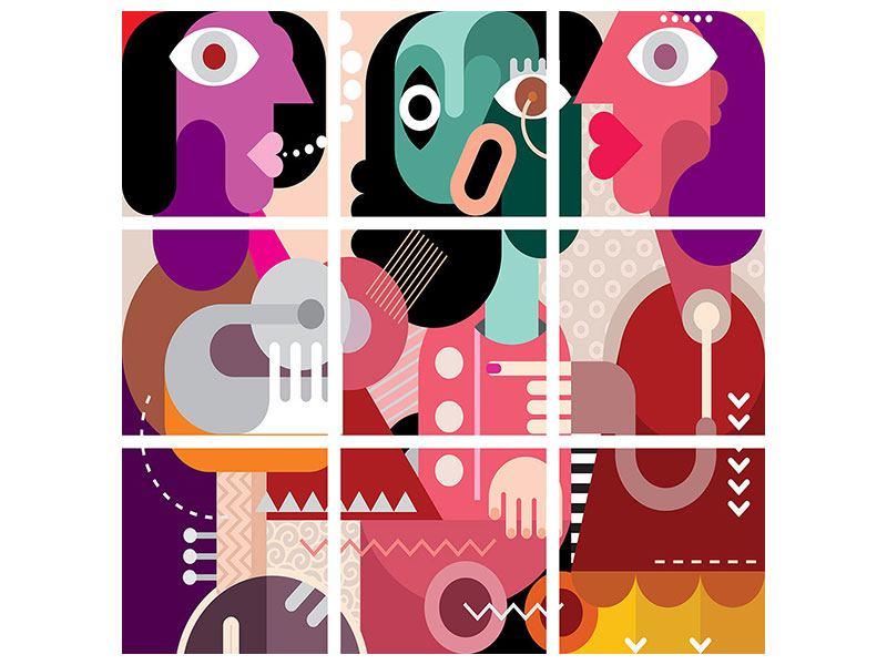 Acrylglasbild 9-teilig Moderne Kunst Frauen