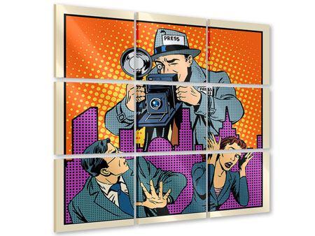 Acrylglasbild 9-teilig Pop Art Paparazzi
