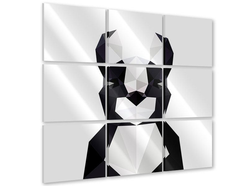 Acrylglasbild 9-teilig Origami Bulldogge