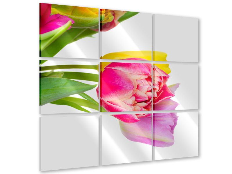 Acrylglasbild 9-teilig Ein bunter Tulpenstrauss