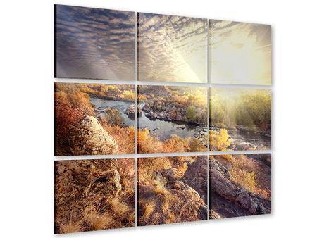 Acrylglasbild 9-teilig Sonnenaufgang am Fluss