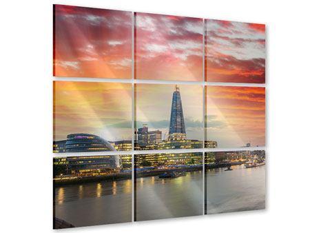 Acrylglasbild 9-teilig Skyline London im Abendrot