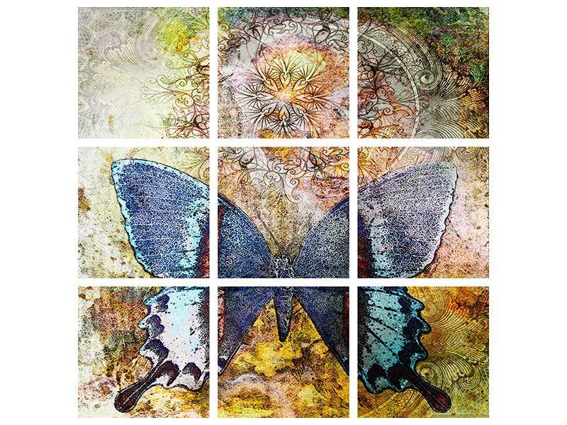 Acrylglasbild 9-teilig Ornament-Schmetterling