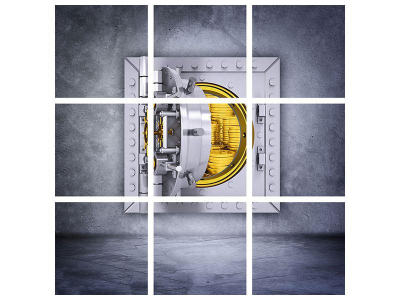Acrylglasbild 9-teilig Gefüllter Tresor
