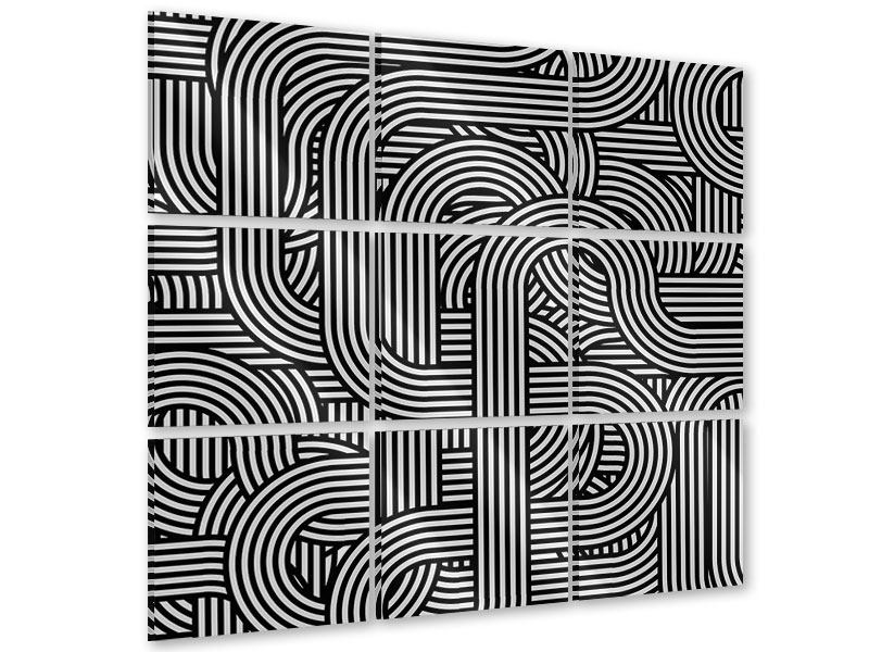 Acrylglasbild 9-teilig 3D Black & White