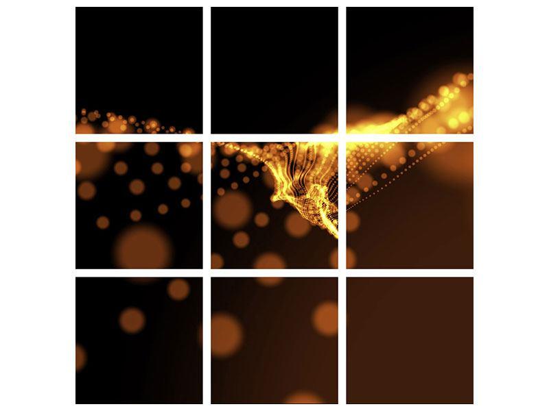 Acrylglasbild 9-teilig Perlengold