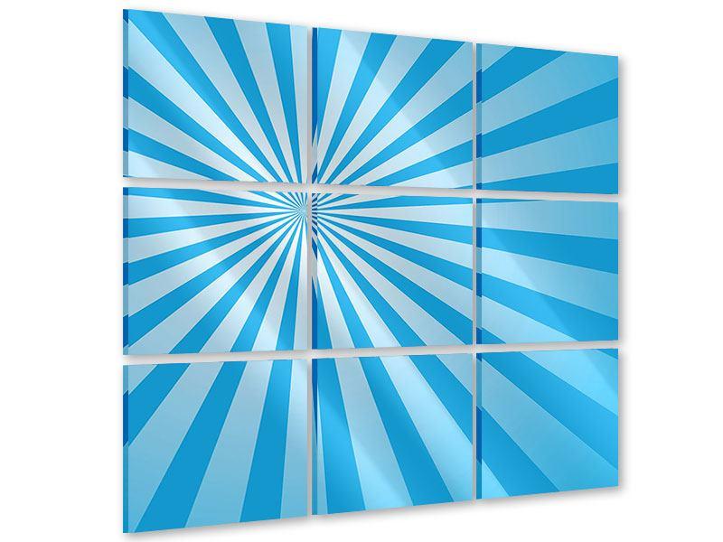 Acrylglasbild 9-teilig Retrowelle Streifenperspektive