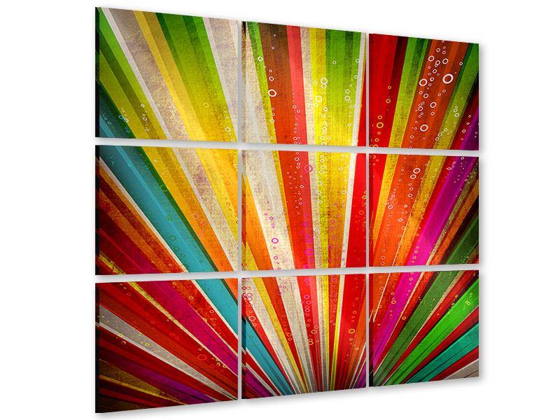 Acrylglasbild 9-teilig Abstrakte Farbstrahlen