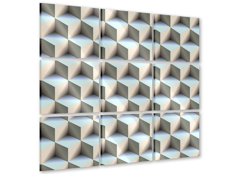 Acrylglasbild 9-teilig 3D-Polytop